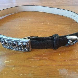 BRIGHTON Black Leather Belt W/Silver Tone Buckle